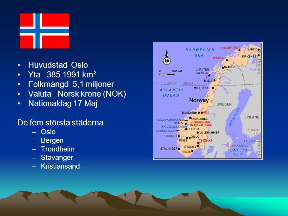 Huvudstad Oslo Yta 385 1991 km² Folkmängd 5,1 miljoner Valuta Norsk krone (NOK) Nationaldag 17 Maj De fem största städerna –Oslo –Bergen –Trondheim –Stavanger –Kristiansand