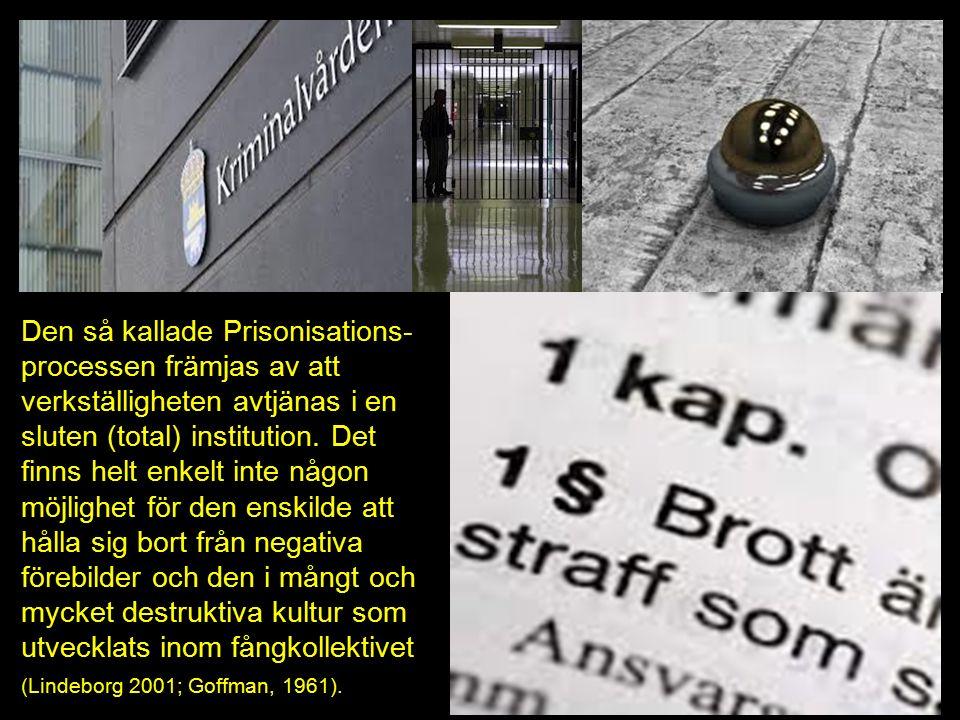 Den så kallade Prisonisations- processen främjas av att verkställigheten avtjänas i en sluten (total) institution.