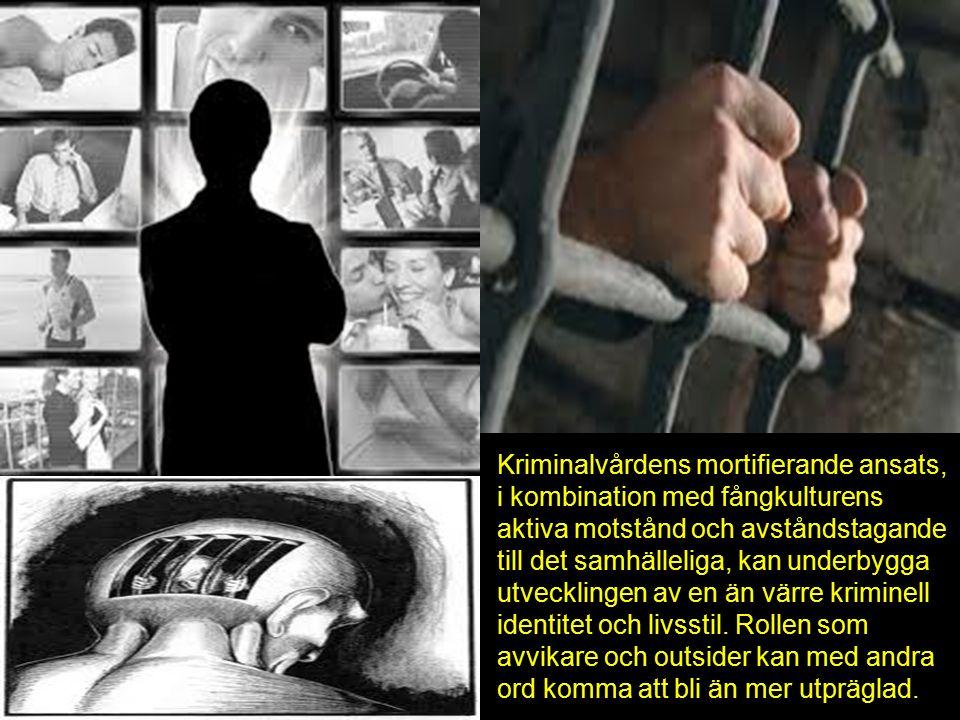 Kriminalvårdens mortifierande ansats, i kombination med fångkulturens aktiva motstånd och avståndstagande till det samhälleliga, kan underbygga utvecklingen av en än värre kriminell identitet och livsstil.