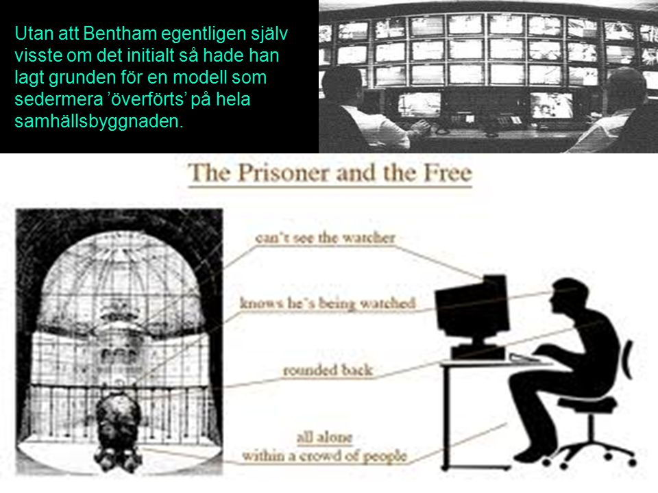 Utan att Bentham egentligen själv visste om det initialt så hade han lagt grunden för en modell som sedermera 'överförts' på hela samhällsbyggnaden.