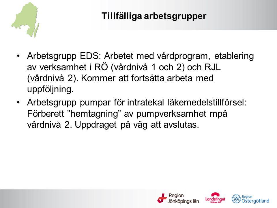 Tillfälliga arbetsgrupper Arbetsgrupp EDS: Arbetet med vårdprogram, etablering av verksamhet i RÖ (vårdnivå 1 och 2) och RJL (vårdnivå 2).