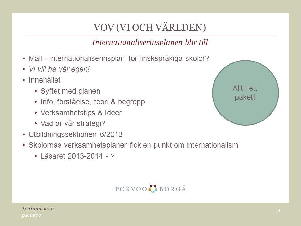 VOV (VI OCH VÄRLDEN) Internationaliserinsplanen blir till Mall - Internationaliserinsplan för finskspråkiga skolor.