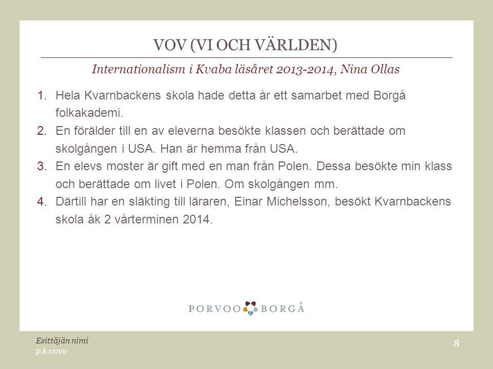 VOV (VI OCH VÄRLDEN) Internationalism i Kvaba läsåret 2013-2014, Nina Ollas 1.Hela Kvarnbackens skola hade detta år ett samarbet med Borgå folkakademi.