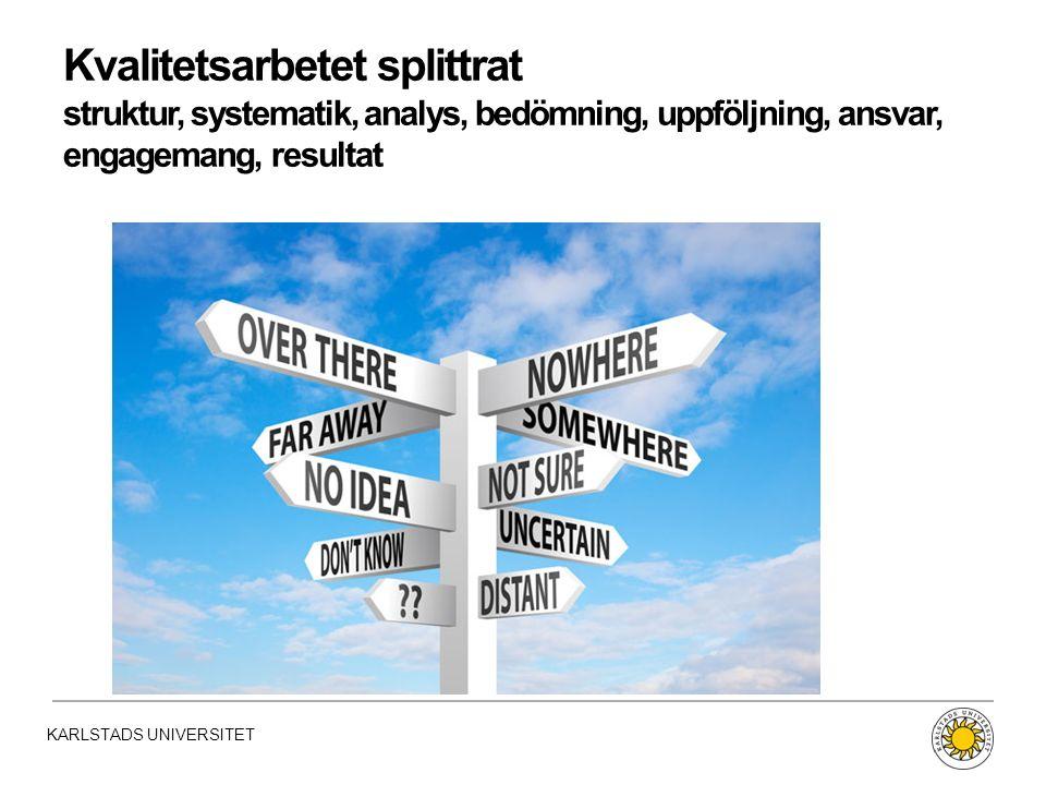 KARLSTADS UNIVERSITET Kvalitetsarbetet splittrat struktur, systematik, analys, bedömning, uppföljning, ansvar, engagemang, resultat
