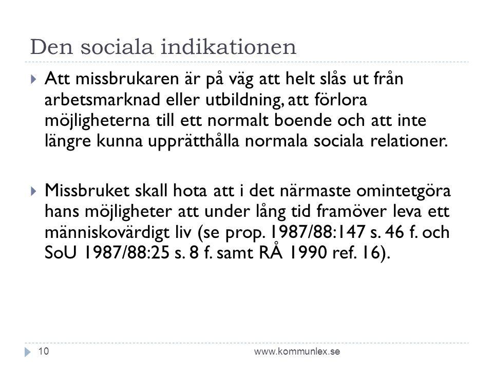 Den sociala indikationen www.kommunlex.se10  Att missbrukaren är på väg att helt slås ut från arbetsmarknad eller utbildning, att förlora möjligheterna till ett normalt boende och att inte längre kunna upprätthålla normala sociala relationer.