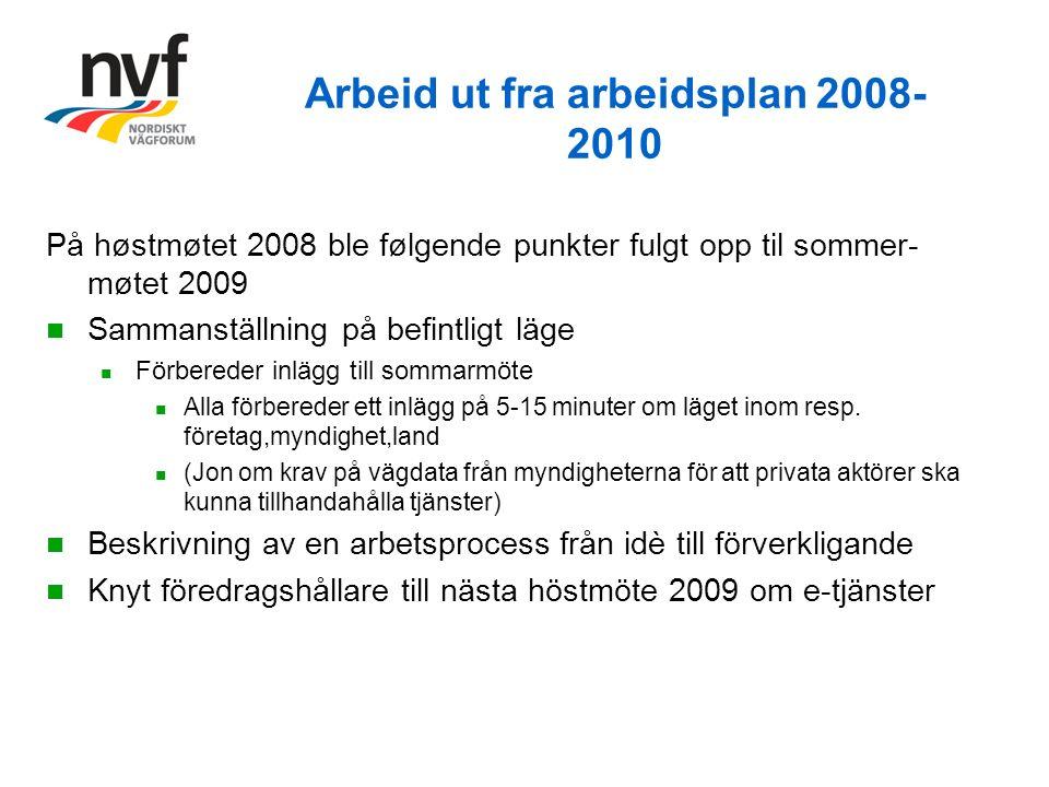 Arbeid ut fra arbeidsplan 2008- 2010 På høstmøtet 2008 ble følgende punkter fulgt opp til sommer- møtet 2009 Sammanställning på befintligt läge Förbereder inlägg till sommarmöte Alla förbereder ett inlägg på 5-15 minuter om läget inom resp.