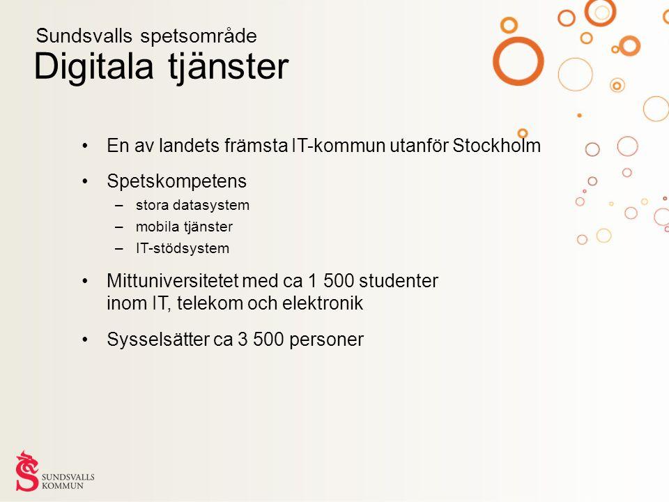 Digitala tjänster En av landets främsta IT-kommun utanför Stockholm Spetskompetens –stora datasystem –mobila tjänster –IT-stödsystem Mittuniversitetet med ca 1 500 studenter inom IT, telekom och elektronik Sysselsätter ca 3 500 personer Sundsvalls spetsområde