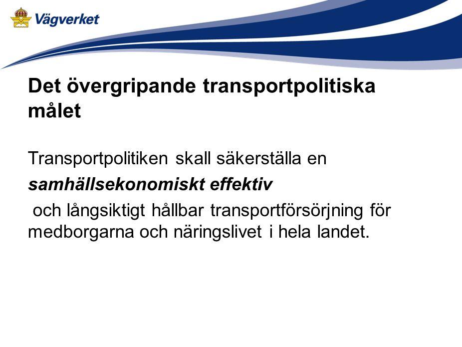 Det övergripande transportpolitiska målet Transportpolitiken skall säkerställa en samhällsekonomiskt effektiv och långsiktigt hållbar transportförsörjning för medborgarna och näringslivet i hela landet.