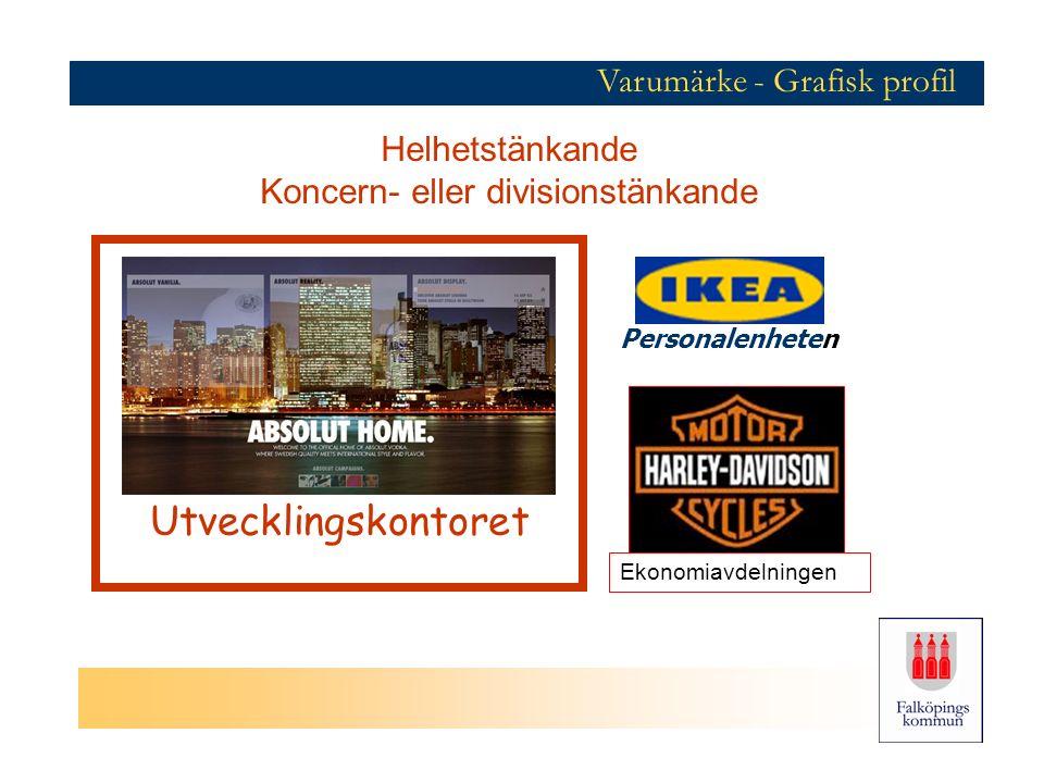 Varumärke - Grafisk profil Helhetstänkande Koncern- eller divisionstänkande Ekonomiavdelningen Personalenheten Utvecklingskontoret
