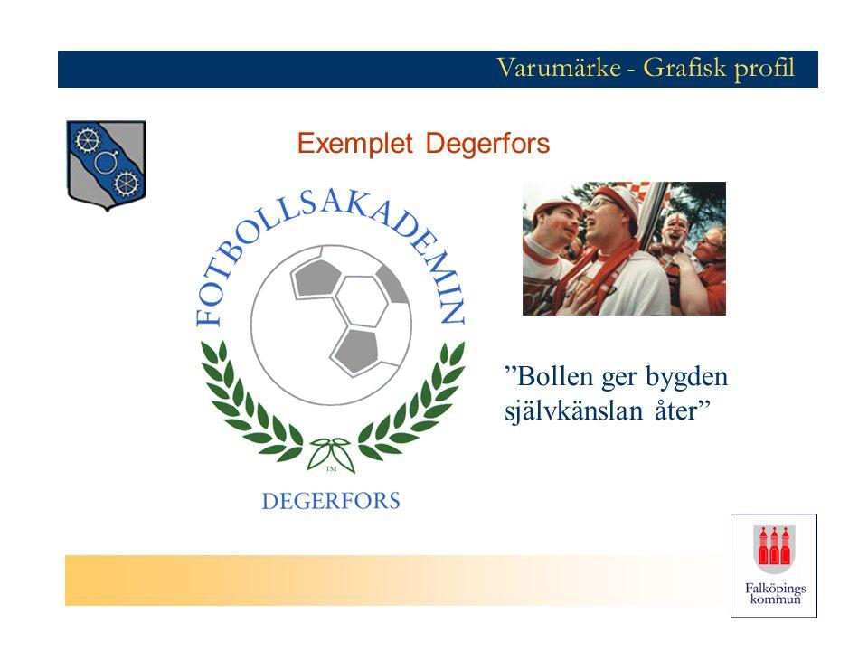 Bollen ger bygden självkänslan åter Varumärke - Grafisk profil Exemplet Degerfors