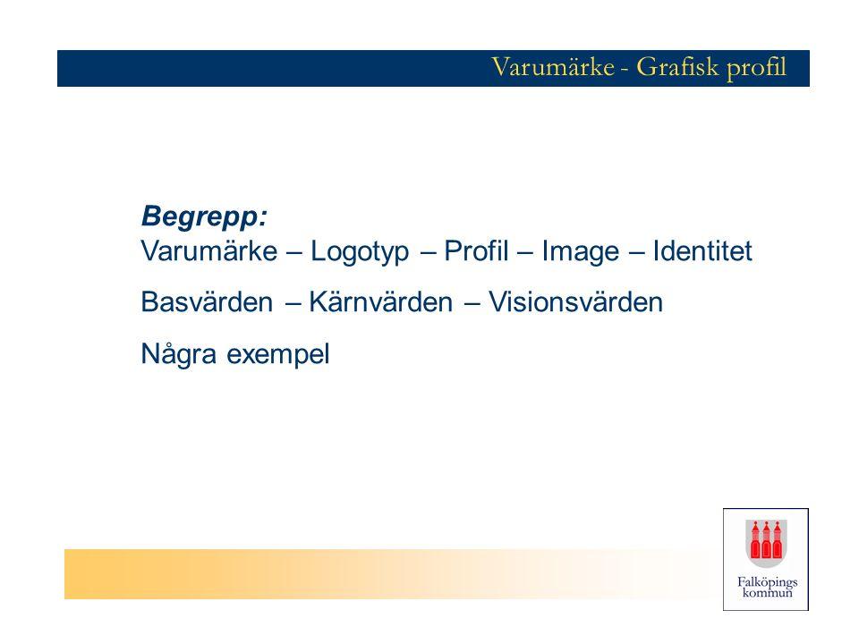 Varumärke - Grafisk profil Begrepp: Varumärke – Logotyp – Profil – Image – Identitet Basvärden – Kärnvärden – Visionsvärden Några exempel