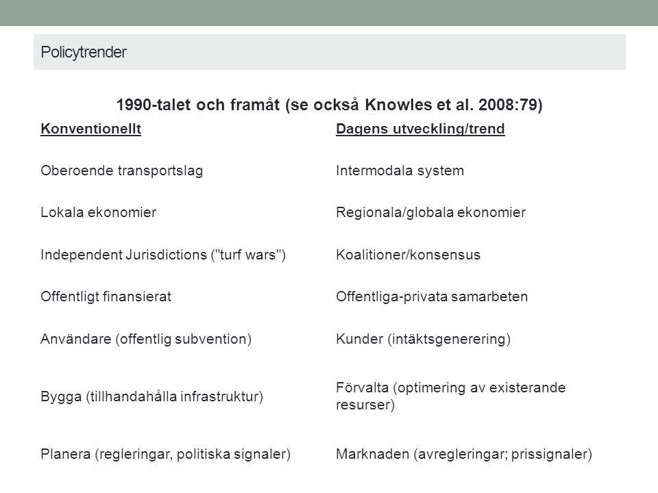 Policytrender 1990-talet och framåt (se också Knowles et al.