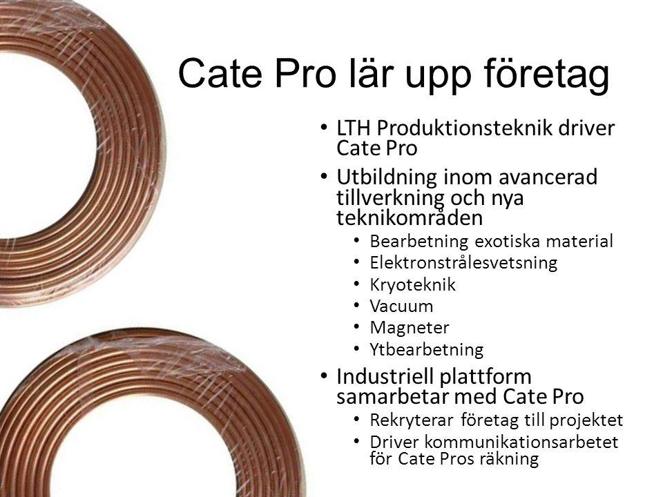 Cate Pro lär upp företag LTH Produktionsteknik driver Cate Pro Utbildning inom avancerad tillverkning och nya teknikområden Bearbetning exotiska mater