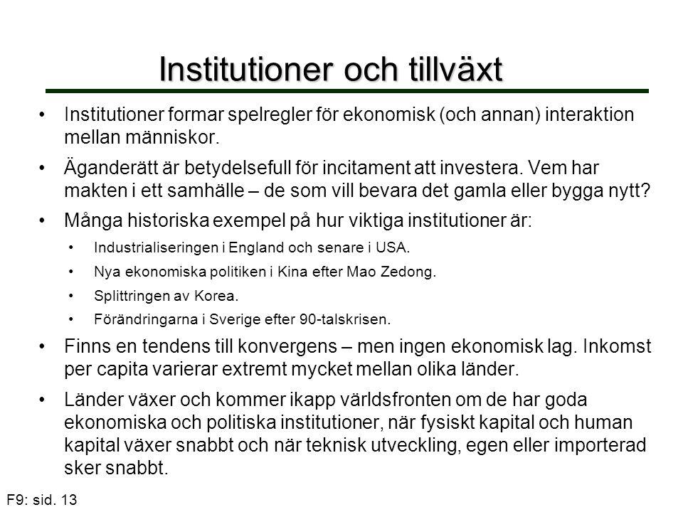 F9: sid. 13 Institutioner och tillväxt Institutioner formar spelregler för ekonomisk (och annan) interaktion mellan människor. Äganderätt är betydelse