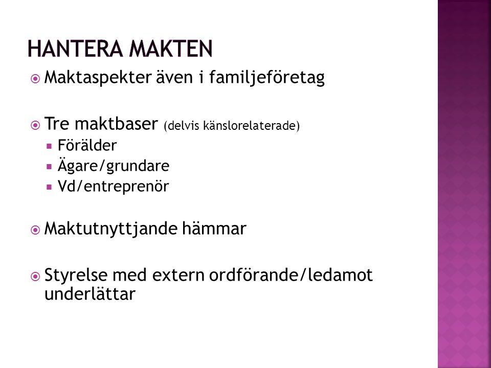  Maktaspekter även i familjeföretag  Tre maktbaser (delvis känslorelaterade)  Förälder  Ägare/grundare  Vd/entreprenör  Maktutnyttjande hämmar 