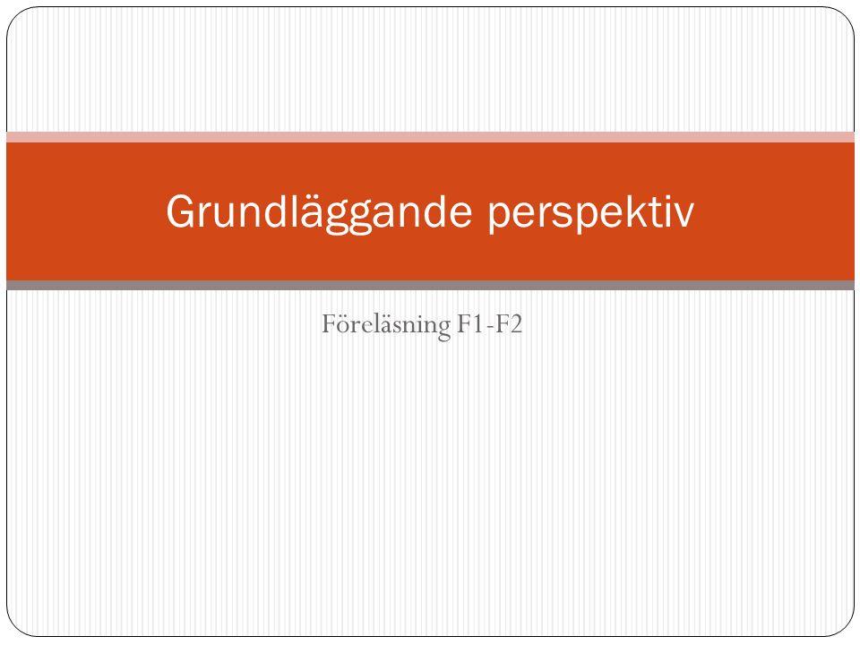 Föreläsning F1-F2 Grundläggande perspektiv