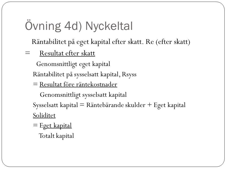 Övning 4d) Nyckeltal Räntabilitet på eget kapital efter skatt.