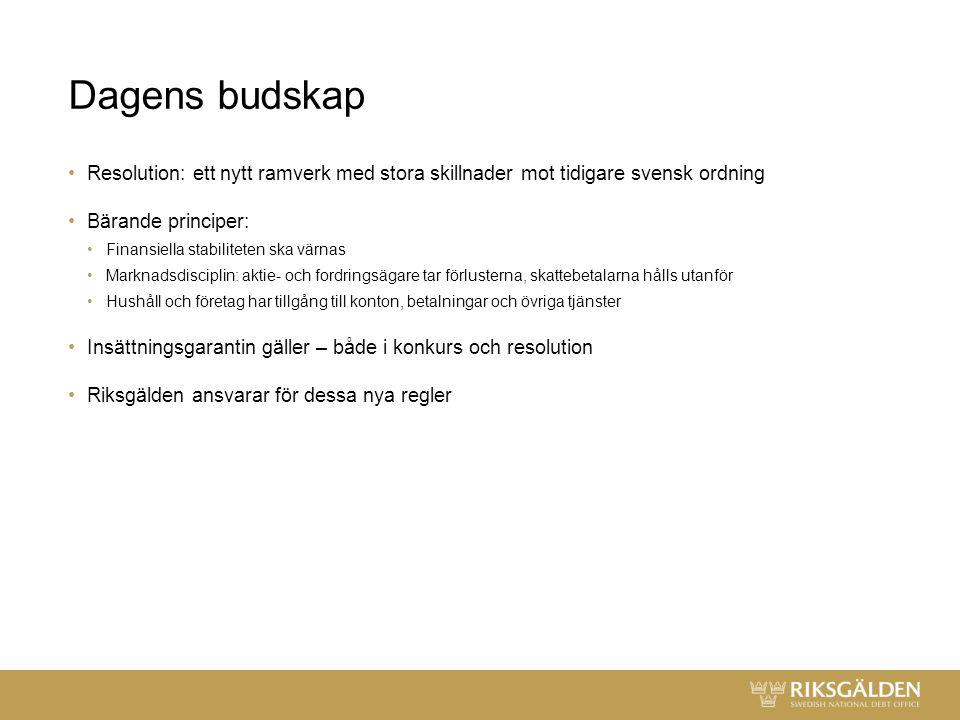 Dagens budskap Resolution: ett nytt ramverk med stora skillnader mot tidigare svensk ordning Bärande principer: Finansiella stabiliteten ska värnas Marknadsdisciplin: aktie- och fordringsägare tar förlusterna, skattebetalarna hålls utanför Hushåll och företag har tillgång till konton, betalningar och övriga tjänster Insättningsgarantin gäller – både i konkurs och resolution Riksgälden ansvarar för dessa nya regler