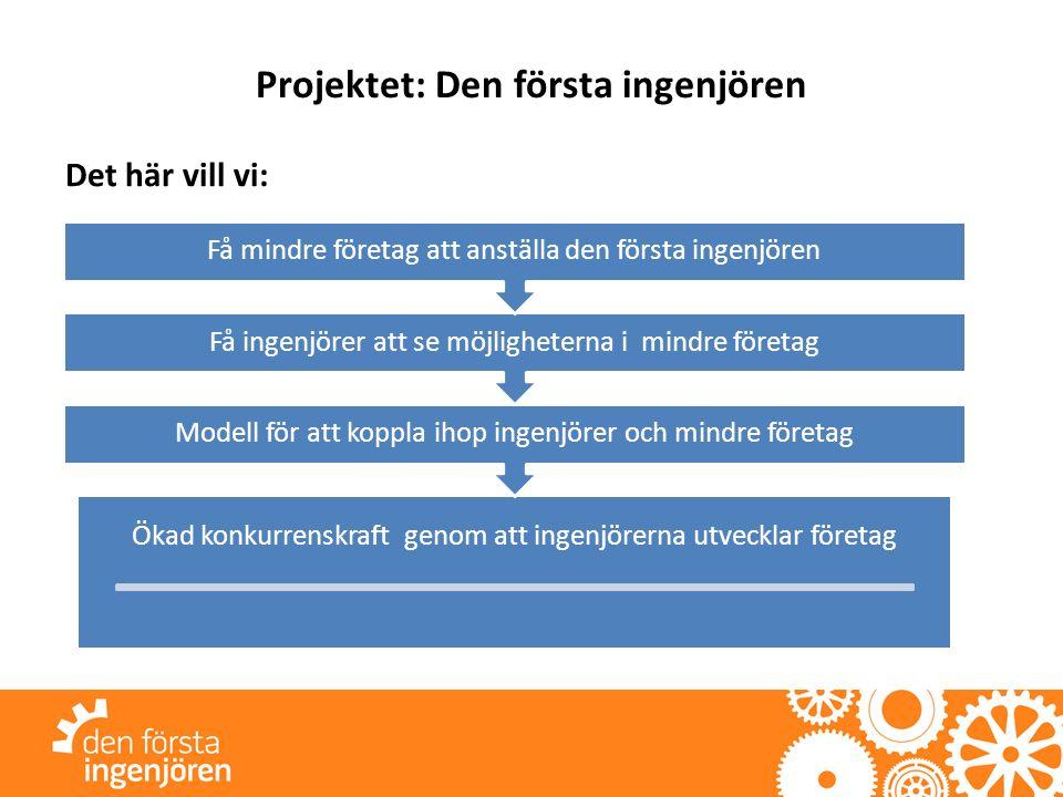Projektet: Den första ingenjören Det här vill vi: Ökad konkurrenskraft genom att ingenjörerna utvecklar företag Modell för att koppla ihop ingenjörer och mindre företag Få ingenjörer att se möjligheterna i mindre företag Få mindre företag att anställa den första ingenjören