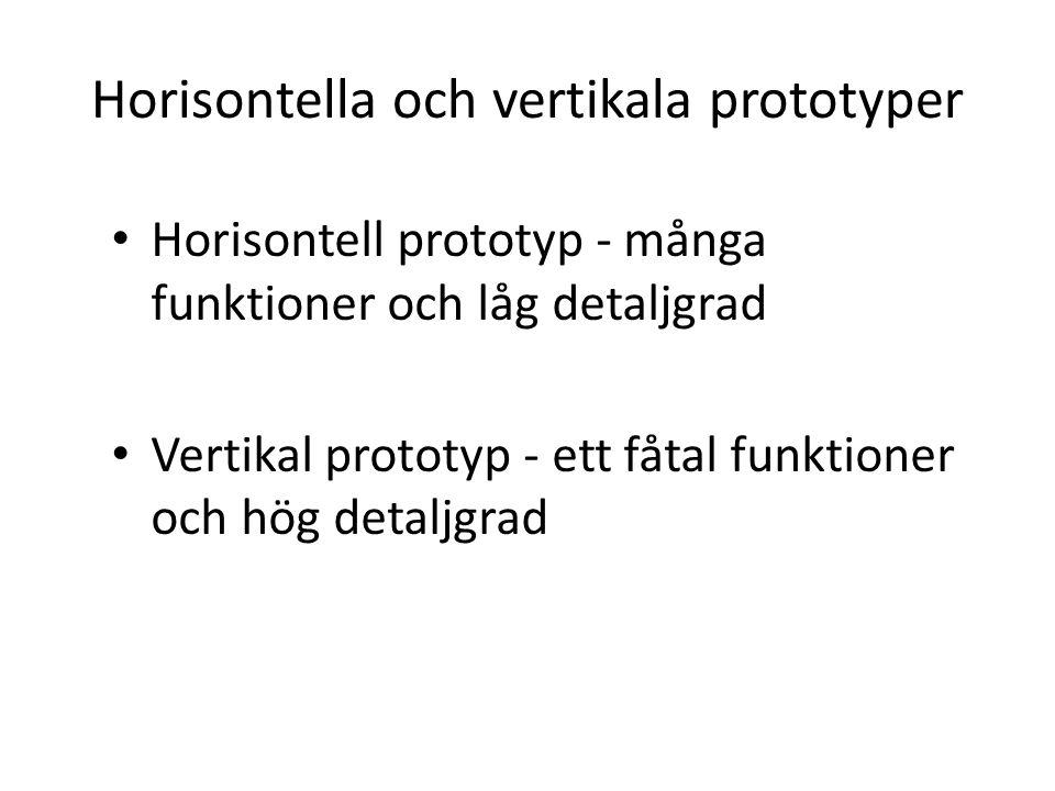 Horisontella och vertikala prototyper Horisontell prototyp - många funktioner och låg detaljgrad Vertikal prototyp - ett fåtal funktioner och hög detaljgrad