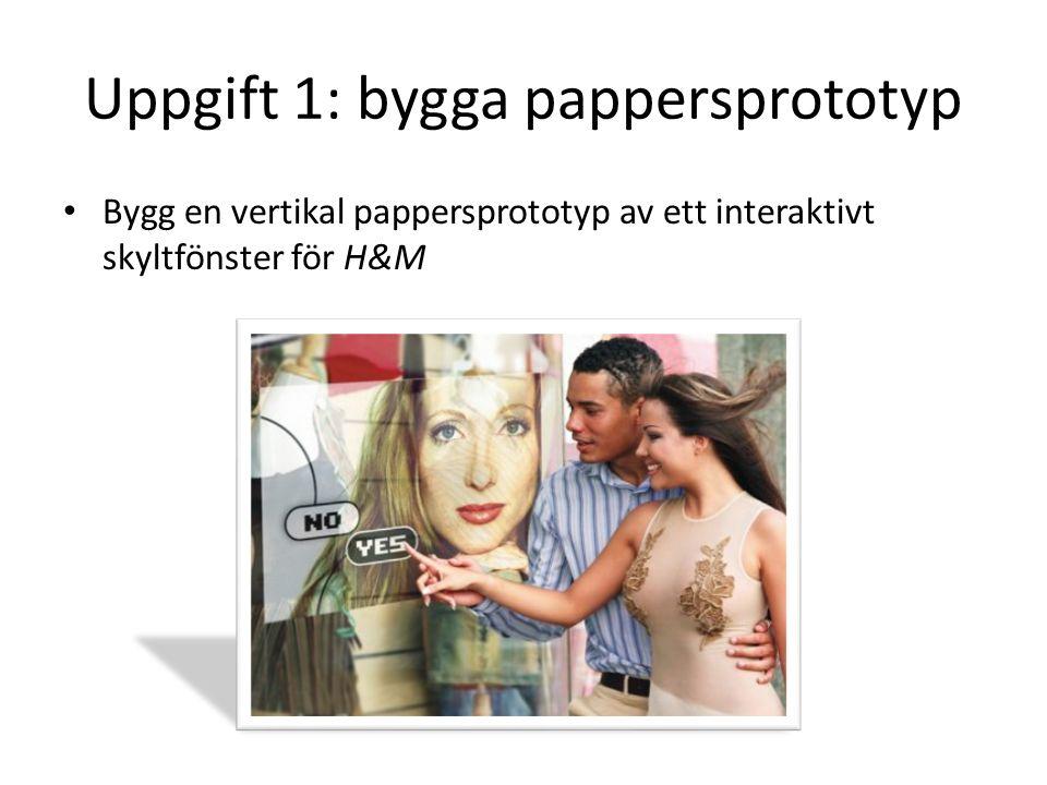 Uppgift 1: bygga pappersprototyp Bygg en vertikal pappersprototyp av ett interaktivt skyltfönster för H&M