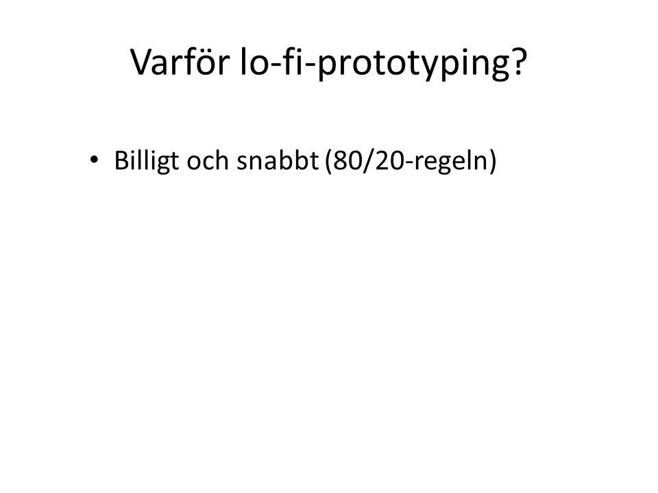 Varför lo-fi-prototyping Billigt och snabbt (80/20-regeln)
