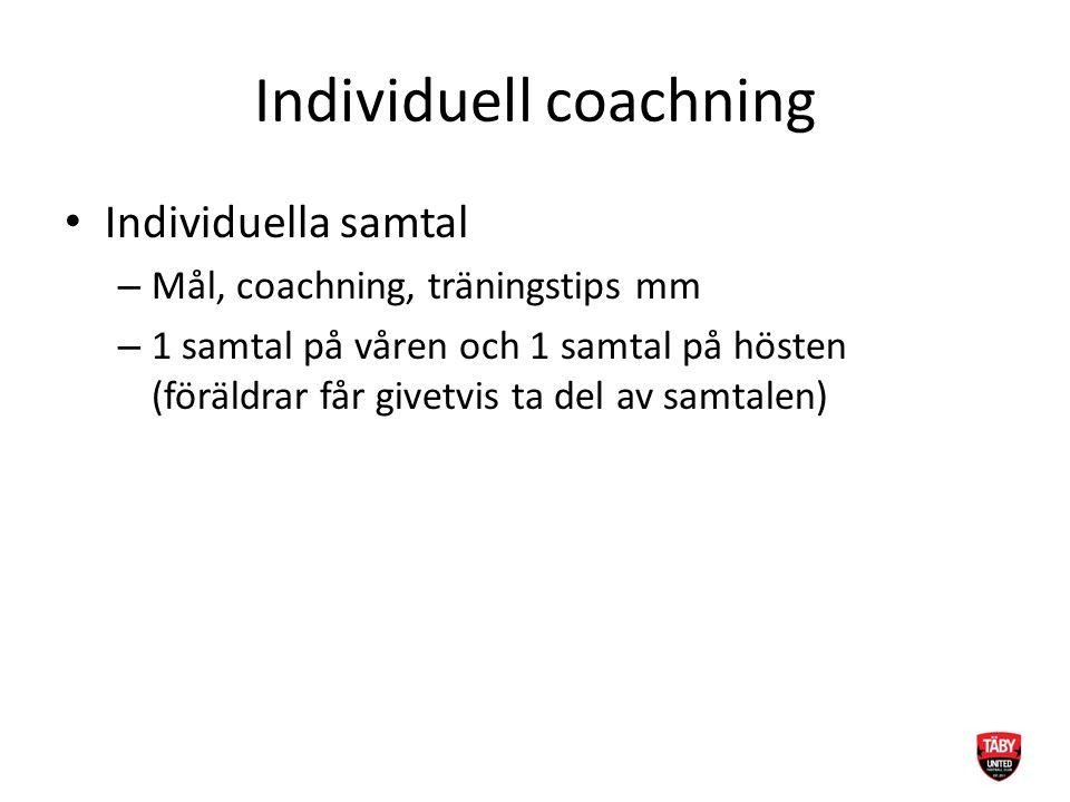 Individuell coachning Individuella samtal – Mål, coachning, träningstips mm – 1 samtal på våren och 1 samtal på hösten (föräldrar får givetvis ta del