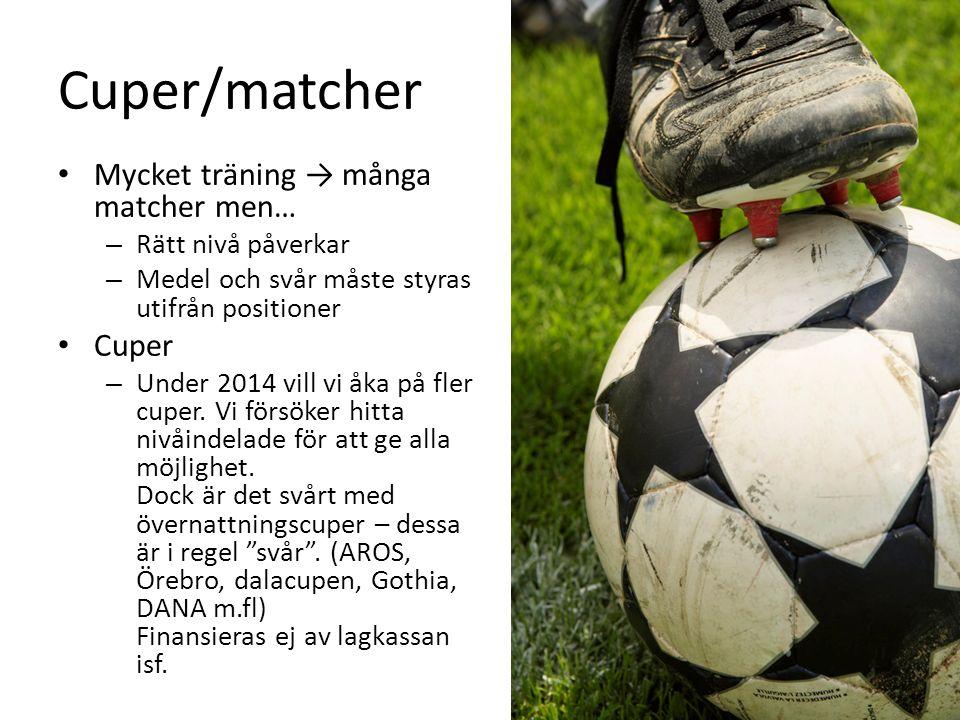 Cuper/matcher Mycket träning → många matcher men… – Rätt nivå påverkar – Medel och svår måste styras utifrån positioner Cuper – Under 2014 vill vi åka på fler cuper.