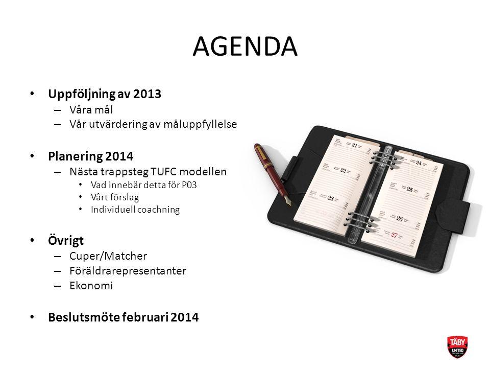 AGENDA Uppföljning av 2013 – Våra mål – Vår utvärdering av måluppfyllelse Planering 2014 – Nästa trappsteg TUFC modellen Vad innebär detta för P03 Vår