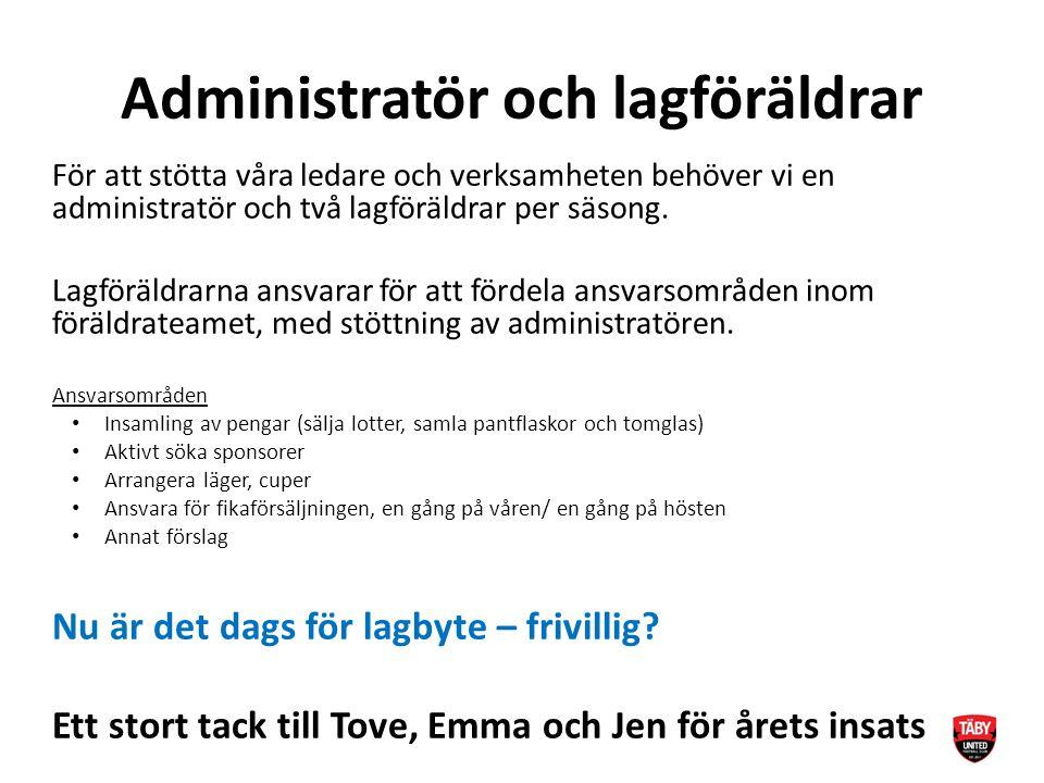 Administratör och lagföräldrar För att stötta våra ledare och verksamheten behöver vi en administratör och två lagföräldrar per säsong.