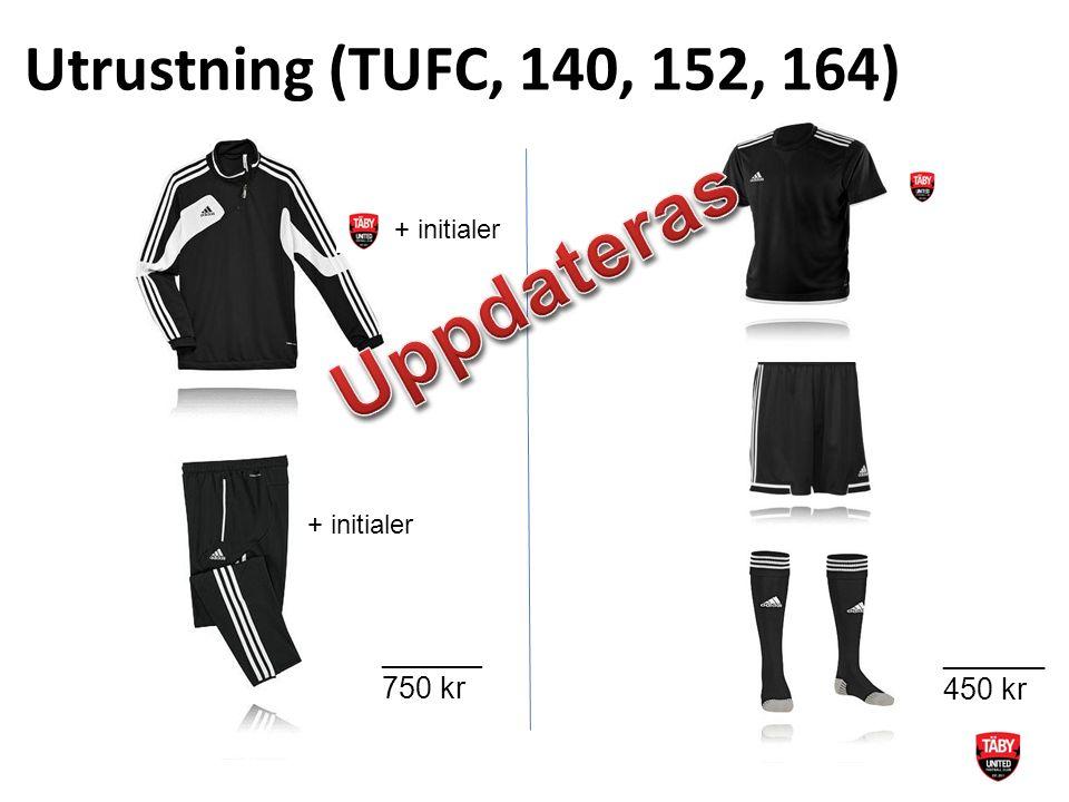 Utrustning (TUFC, 140, 152, 164) ______ 750 kr _______ 450 kr + initialer