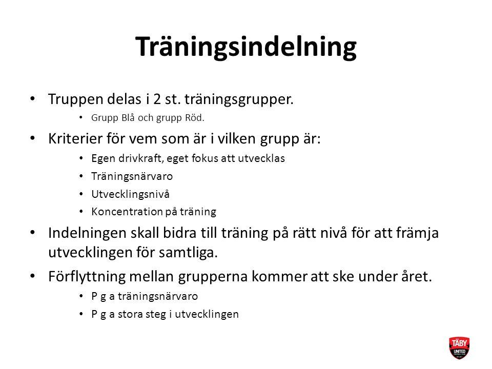 Träningsindelning Truppen delas i 2 st. träningsgrupper. Grupp Blå och grupp Röd. Kriterier för vem som är i vilken grupp är: Egen drivkraft, eget fok