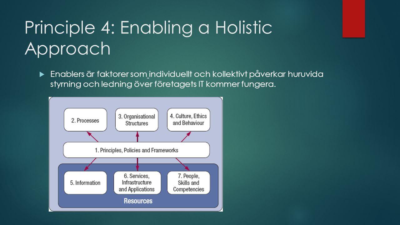 Principle 4: Enabling a Holistic Approach  Enablers är faktorer som individuellt och kollektivt påverkar huruvida styrning och ledning över företagets IT kommer fungera.