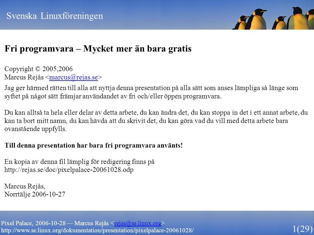 Svenska Linuxföreningen 1 (29) Pixel Palace, 2006-10-28 — Marcus Rejås rejas@se.linux.org http://www.se.linux.org/dokumentation/presentation/pixelpala