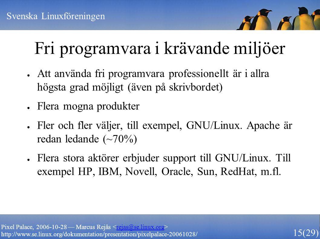 Svenska Linuxföreningen 15 (29) Pixel Palace, 2006-10-28 — Marcus Rejås rejas@se.linux.org http://www.se.linux.org/dokumentation/presentation/pixelpalace-20061028/ Fri programvara i krävande miljöer ● Att använda fri programvara professionellt är i allra högsta grad möjligt (även på skrivbordet) ● Flera mogna produkter ● Fler och fler väljer, till exempel, GNU/Linux.