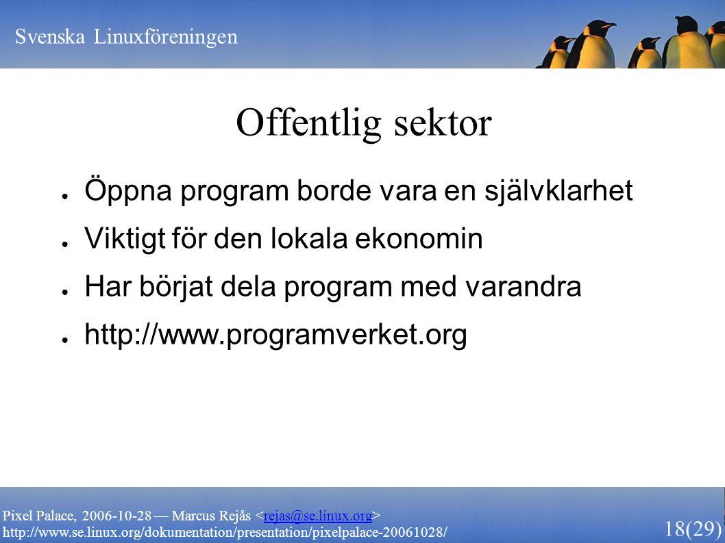 Svenska Linuxföreningen 18 (29) Pixel Palace, 2006-10-28 — Marcus Rejås rejas@se.linux.org http://www.se.linux.org/dokumentation/presentation/pixelpal
