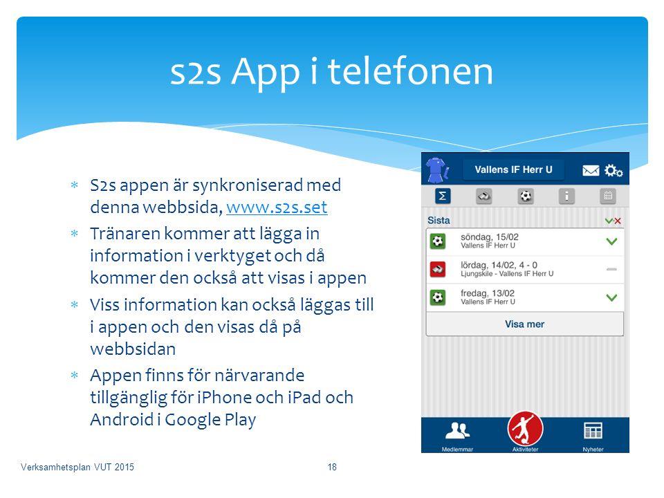  S2s appen är synkroniserad med denna webbsida, www.s2s.setwww.s2s.set  Tränaren kommer att lägga in information i verktyget och då kommer den också att visas i appen  Viss information kan också läggas till i appen och den visas då på webbsidan  Appen finns för närvarande tillgänglig för iPhone och iPad och Android i Google Play s2s App i telefonen Verksamhetsplan VUT 201518