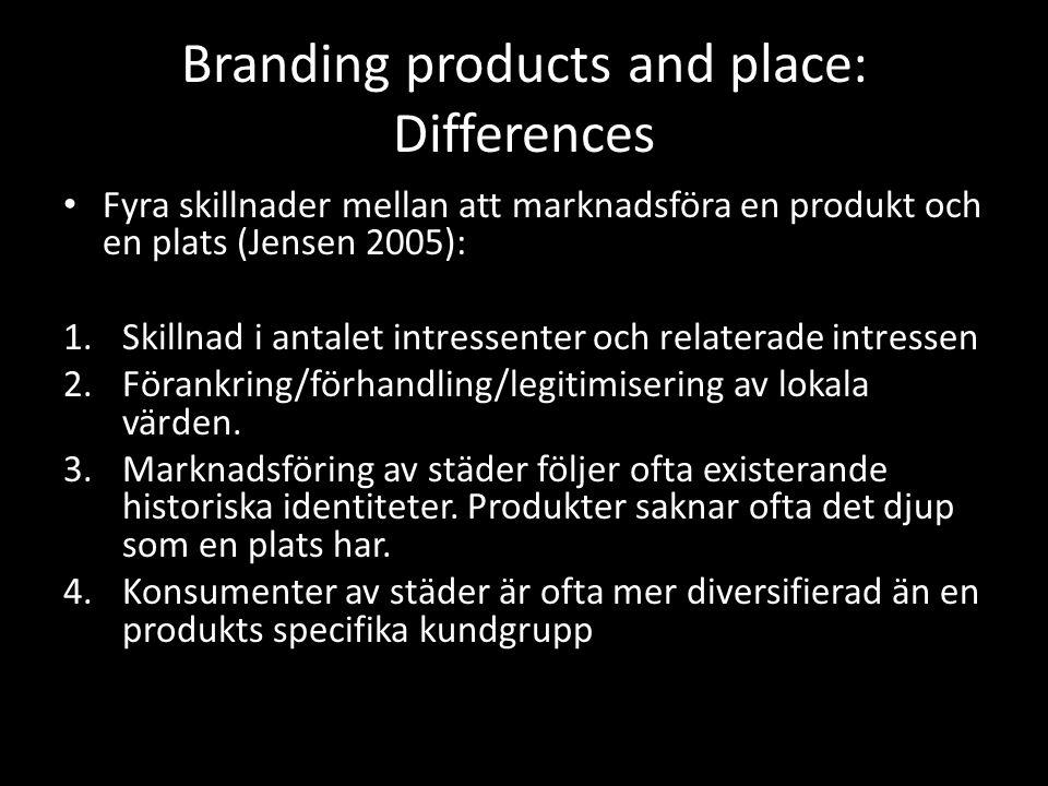 Branding products and place: Differences Fyra skillnader mellan att marknadsföra en produkt och en plats (Jensen 2005): 1.Skillnad i antalet intressenter och relaterade intressen 2.Förankring/förhandling/legitimisering av lokala värden.