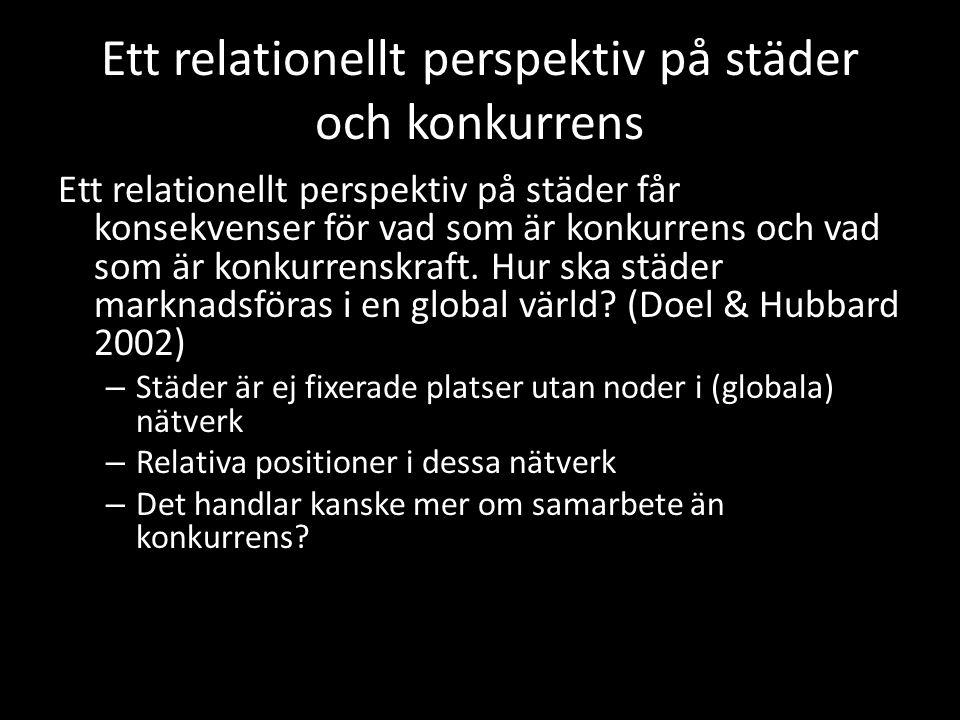 Ett relationellt perspektiv på städer och konkurrens Ett relationellt perspektiv på städer får konsekvenser för vad som är konkurrens och vad som är konkurrenskraft.