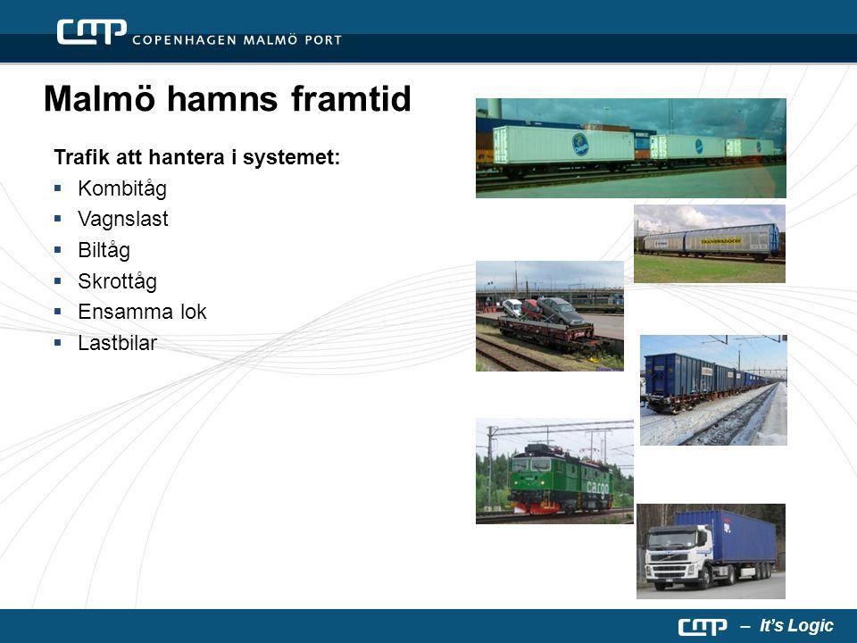 – It's Logic Malmö hamns framtid Trafik att hantera i systemet:  Kombitåg  Vagnslast  Biltåg  Skrottåg  Ensamma lok  Lastbilar