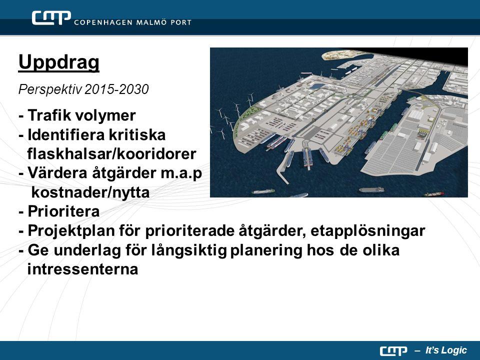 – It's Logic Uppdrag Perspektiv 2015-2030 - Trafik volymer - Identifiera kritiska flaskhalsar/kooridorer - Värdera åtgärder m.a.p kostnader/nytta - Prioritera - Projektplan för prioriterade åtgärder, etapplösningar - Ge underlag för långsiktig planering hos de olika intressenterna
