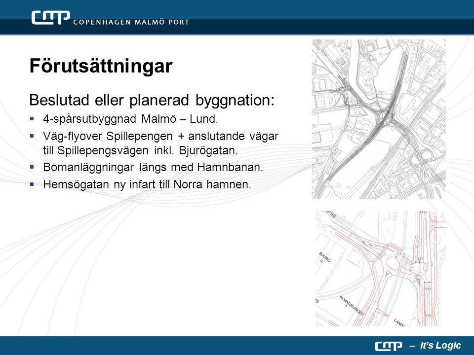 – It's Logic Förutsättningar Beslutad eller planerad byggnation:  4-spårsutbyggnad Malmö – Lund.  Väg-flyover Spillepengen + anslutande vägar till S