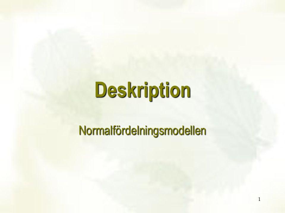 Deskription Normalfördelningsmodellen 1