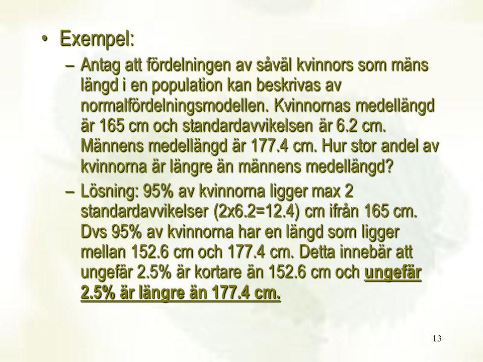 13 Exempel:Exempel: –Antag att fördelningen av såväl kvinnors som mäns längd i en population kan beskrivas av normalfördelningsmodellen. Kvinnornas me
