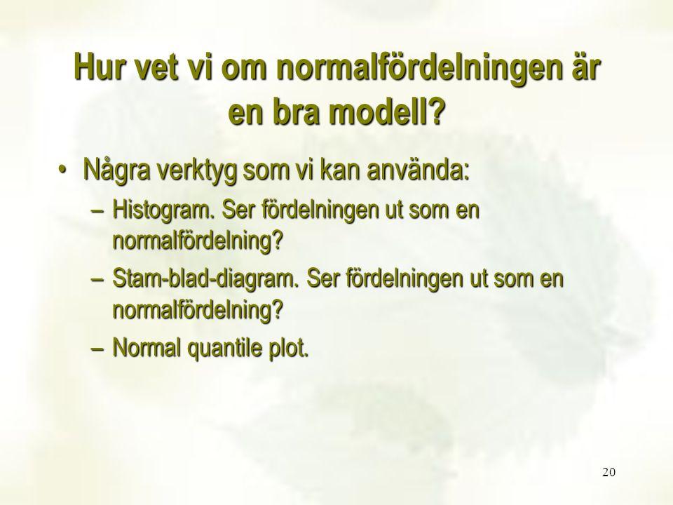 Hur vet vi om normalfördelningen är en bra modell? Några verktyg som vi kan använda:Några verktyg som vi kan använda: –Histogram. Ser fördelningen ut