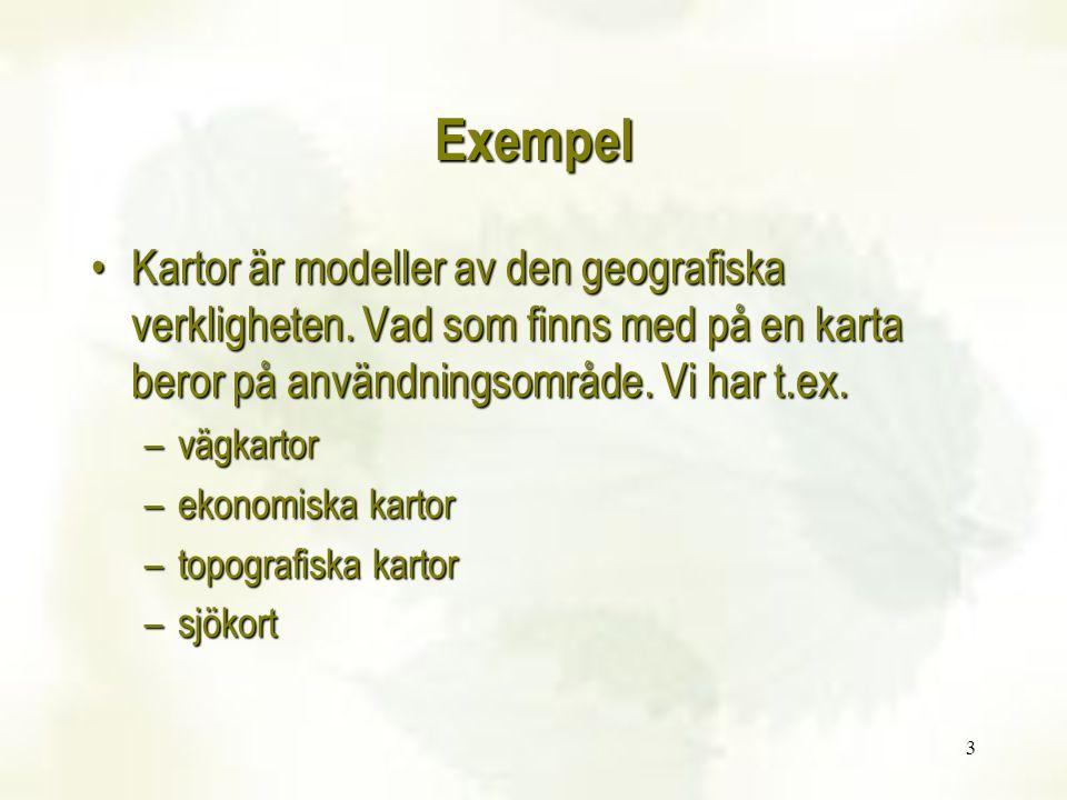3 Exempel Kartor är modeller av den geografiska verkligheten. Vad som finns med på en karta beror på användningsområde. Vi har t.ex.Kartor är modeller