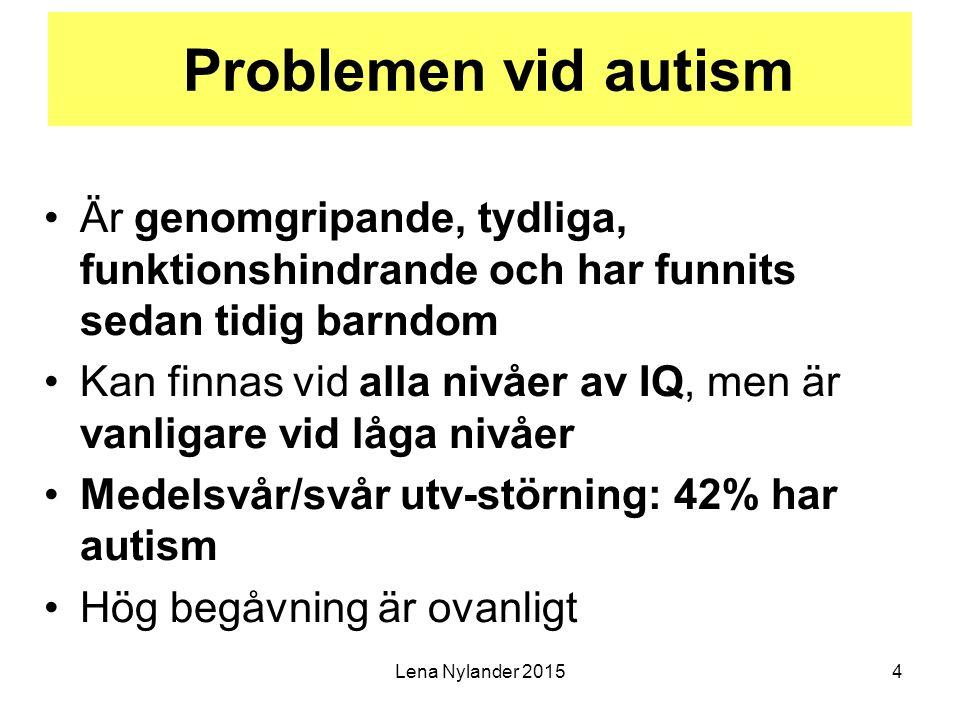 Lena Nylander 20155 Autismspektrumstörningar (ASD) i ICD-10/DSM-IV autism i barndomen/autistiskt syndrom (autism, klassisk autism, Kanners syndrom) Aspergers syndrom (felaktig benämning: högfungerande autism) atypisk autism/PDD-NOS, felaktig benämning: autismliknande tillstånd )