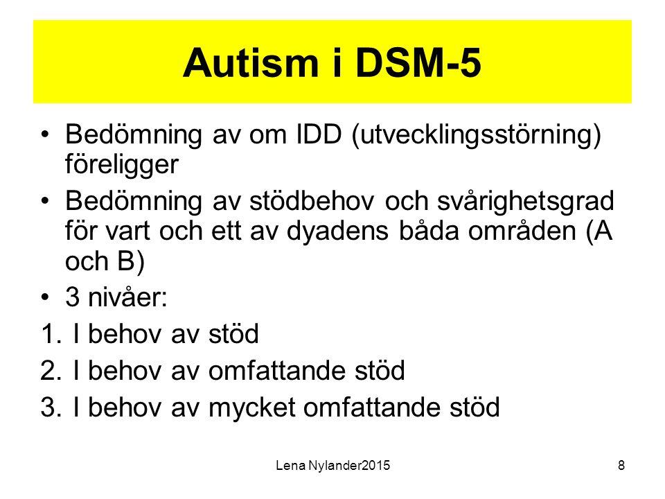 Autism i DSM-5 Bedömning av om IDD (utvecklingsstörning) föreligger Bedömning av stödbehov och svårighetsgrad för vart och ett av dyadens båda områden (A och B) 3 nivåer: 1.