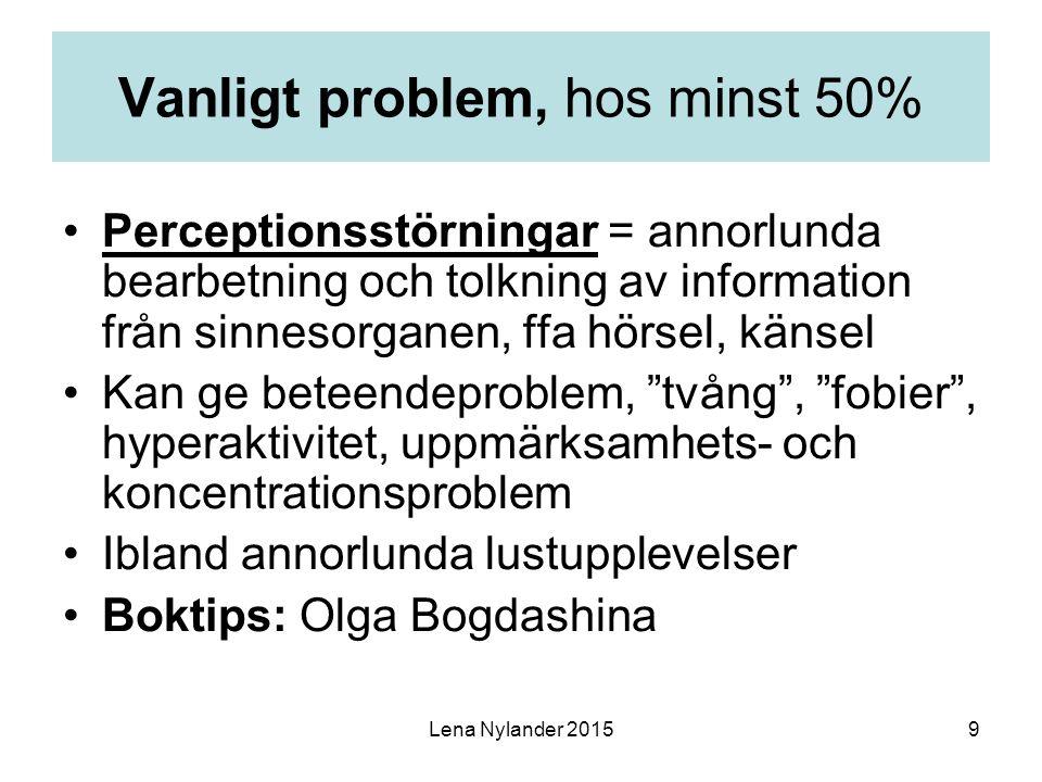 9 Vanligt problem, hos minst 50% Perceptionsstörningar = annorlunda bearbetning och tolkning av information från sinnesorganen, ffa hörsel, känsel Kan ge beteendeproblem, tvång , fobier , hyperaktivitet, uppmärksamhets- och koncentrationsproblem Ibland annorlunda lustupplevelser Boktips: Olga Bogdashina