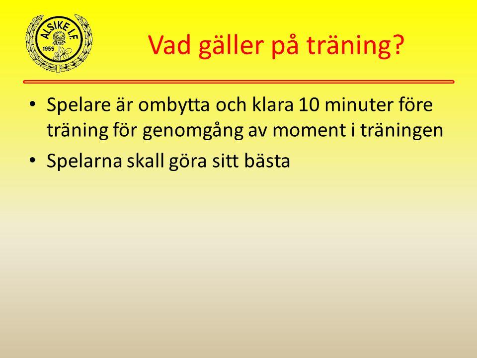 Vad gäller på träning? Spelare är ombytta och klara 10 minuter före träning för genomgång av moment i träningen Spelarna skall göra sitt bästa